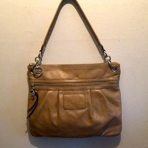 Coach Poppy Gold Leather Hobo Bag 17048